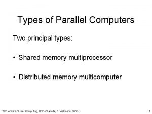 Types of Parallel Computers Two principal types Shared