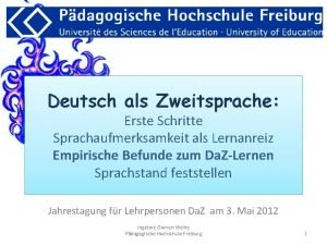 Deutsch als Zweitsprache Erste Schritte Sprachaufmerksamkeit als Lernanreiz