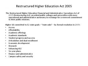 Restructured Higher Education Act 2005 The Restructured Higher