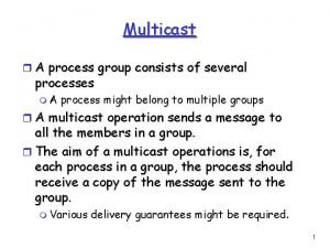 Multicast r A process group consists of several