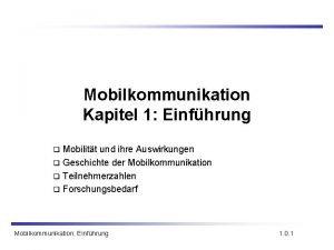 Mobilkommunikation Kapitel 1 Einfhrung Mobilitt und ihre Auswirkungen