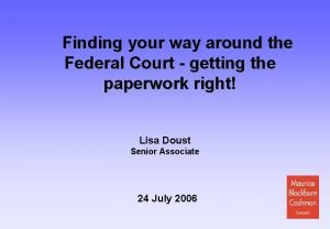 Finding your way around the Federal Court getting