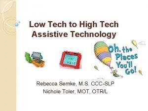Low Tech to High Tech Assistive Technology Rebecca