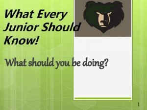 What Every Junior Should Know What should you