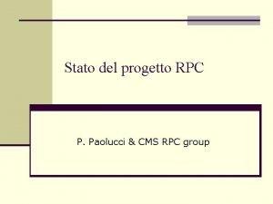 Stato del progetto RPC P Paolucci CMS RPC