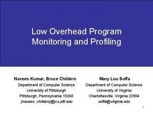 Low Overhead Program Monitoring and Profiling Naveen Kumar