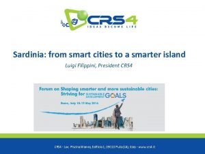Sardinia from smart cities to a smarter island
