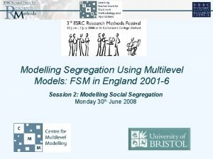 Modelling Segregation Using Multilevel Models FSM in England