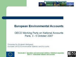 Environmental Accounts European Environmental Accounts OECD Working Party
