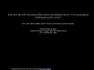 Bulk tank raw milk microbiota differs within and