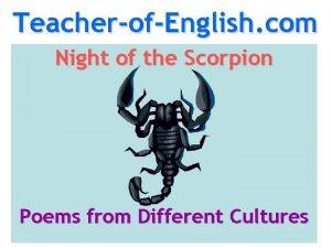 TeacherofEnglish com Night of the Scorpion Poems from