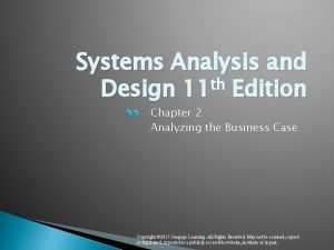 Systems Analysis and Design 11 th Edition Chapter