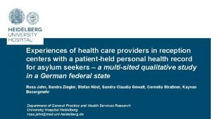 Experiences of health care providers in reception centers