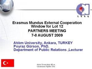 Erasmus Mundus External Cooperation Window for Lot 12