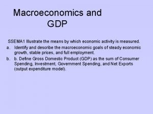 Macroeconomics and GDP SSEMA 1 Illustrate the means