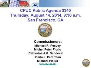 CPUC Public Agenda 3340 Thursday August 14 2014