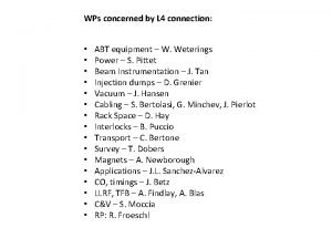 WPs concerned by L 4 connection ABT equipment