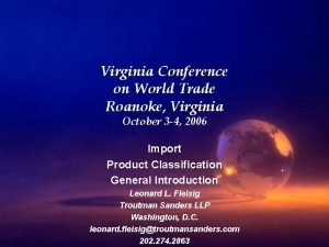 Virginia Conference on World Trade Roanoke Virginia October