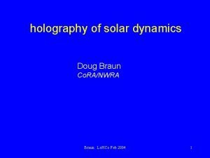 holography of solar dynamics Doug Braun Co RANWRA