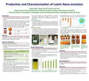 Production and Characterization of Lutein Nanoemulsion Cindy Chong