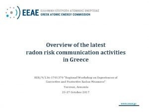 Overview of the latest radon risk communication activities