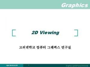 Graphics 2 D Viewing cgvr korea ac kr