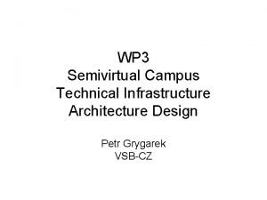 WP 3 Semivirtual Campus Technical Infrastructure Architecture Design