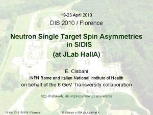 19 23 April 2010 DIS 2010 Florence Neutron