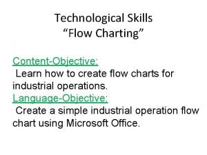 Technological Skills Flow Charting ContentObjective Learn how to