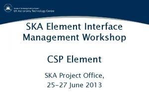 SKA Element Interface Management Workshop CSP Element SKA