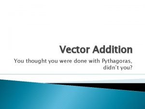 Vector Addition You thought you were done with