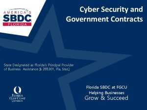 Cyber Security and Government Contracts State Designated as