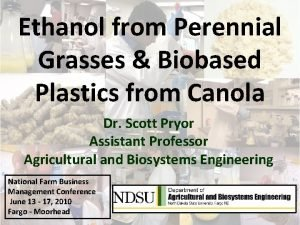 Ethanol from Perennial Grasses Biobased Plastics from Canola
