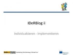 IDe RBlog ii individualsieren implementieren Bearbeitung Nina Steinhauer