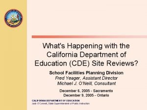 Whats Happening with the California Department of Education