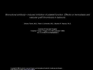 Monoclonal antibodyinduced inhibition of platelet function Effects on