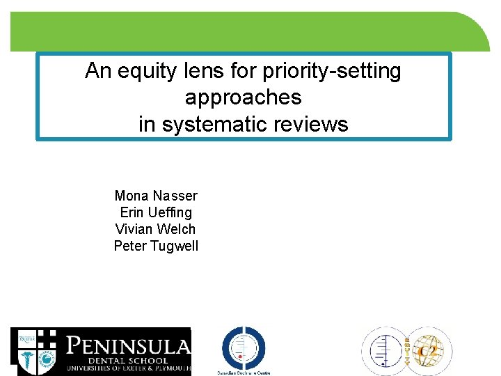 An equity lens for prioritysetting approaches in systematic