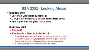 SSA 2302 Looking Ahead Tuesday 918 Lecture Discussion