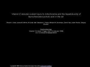 Vitamin E reduces oxidant injury to mitochondria and
