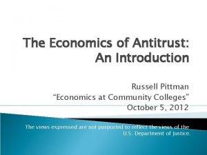 The Economics of Antitrust An Introduction Russell Pittman