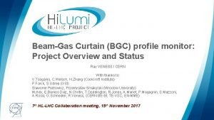 BeamGas Curtain BGC profile monitor Project Overview and