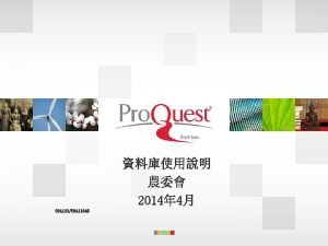 Pro Quest q Pro Quest Environmental Sciences Collection