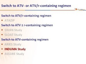 Switch to ATV or ATVrcontaining regimen Switch to