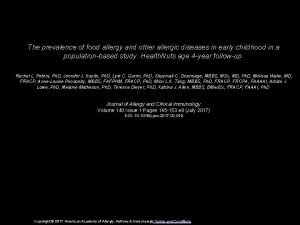 The prevalence of food allergy and other allergic