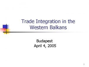 Trade Integration in the Western Balkans Budapest April