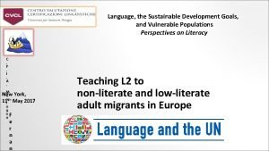 Language the Sustainable Development Goals and Vulnerable Populations