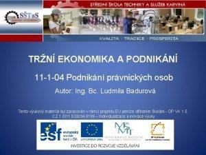 TRN EKONOMIKA A PODNIKN 11 1 04 Podnikn