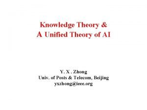 Knowledge Theory A Unified Theory of AI Y