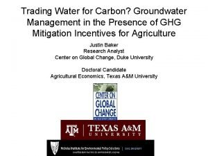 Trading Water for Carbon Groundwater Management in the