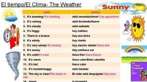 El tiempoEl Clima The Weather ingls espaol 1